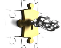 Chiave d'argento con la rappresentazione del pezzo 3D di puzzle dell'oro Immagini Stock Libere da Diritti