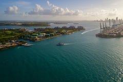 Chiave del centro di Miami la Virginia di immagine del porto aereo di Fisher Island Fotografia Stock Libera da Diritti
