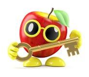 chiave dell'oro di 3d Apple Immagini Stock Libere da Diritti