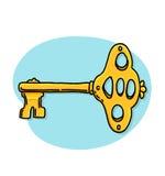Chiave dell'oro sull'illustrazione blu del fondo Fotografie Stock Libere da Diritti