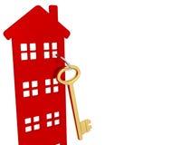 Chiave della Camera con keychain rosso Fotografie Stock Libere da Diritti