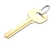 Chiave della porta con l'anello isolato su fondo bianco 3d rendono i cilindri di image Immagini Stock