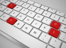 Chiave della tastiera di computer e delle lettere di amore Fotografia Stock Libera da Diritti