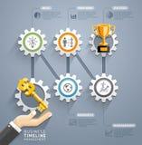 Chiave di affari con il modello infographic di cronologia dell'ingranaggio Fotografia Stock