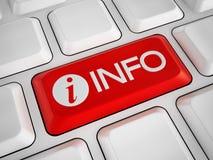 Chiave di informazioni sulla tastiera bianca Fotografie Stock Libere da Diritti