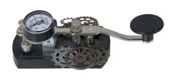 Chiave di telegrafo con gli ingranaggi Fotografia Stock