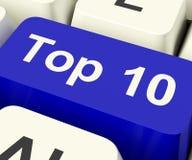 Chiave di Top Ten che mostra il più bene stimato nei grafici Fotografia Stock Libera da Diritti