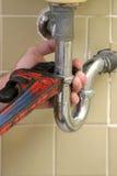 Chiave di tubo dell'idraulico Fotografie Stock