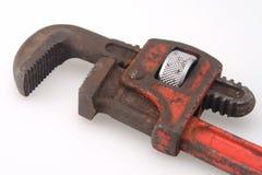 Chiave di tubo rossa della maniglia dell'annata Immagine Stock