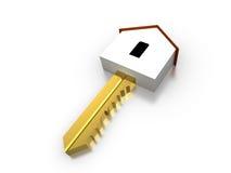 Chiave domestica dorata 3D Fotografia Stock