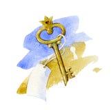 Chiave dorata con l'etichetta in bianco Fotografia Stock Libera da Diritti