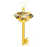 Chiave dorata con un gioiello Immagine Stock Libera da Diritti