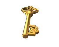 Chiave dorata del tesoro di forma del simbolo di dollaro Immagini Stock Libere da Diritti
