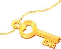 Chiave dorata di amore con i tagli stilizzati Fotografia Stock Libera da Diritti