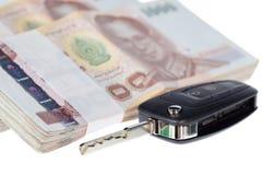 Chiave e banconote dell'automobile Fotografie Stock Libere da Diritti