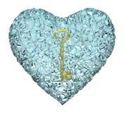 Chiave e cuore dell'oro Fotografia Stock