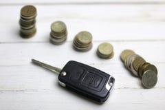 Chiave e moneta dell'automobile su fondo Immagine Stock Libera da Diritti