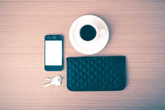 Chiave e portafoglio del telefono del caffè Fotografie Stock