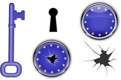 Chiave europea e crepa Immagine Stock