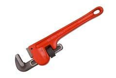 Chiave rossa degli idraulici Immagine Stock Libera da Diritti