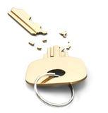 Chiave rotta isolata su fondo bianco 3d rendono i cilindri di image illustrazione di stock