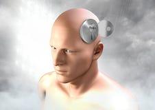 Chiave sbloccando l'immaginazione surreale di 3D equipaggia la testa Fotografia Stock Libera da Diritti
