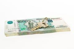 Chiave sui soldi della rublo Fotografia Stock