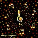 Chiave tripla dorata e note musicali su un fondo dei coriandoli luminosi illustrazione di stock