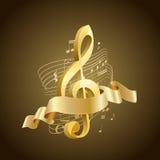 Chiave tripla musicale dorata con le linee e le note astratte, nastro Fotografia Stock