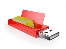 Chiavetta USB e cartelle Fotografie Stock
