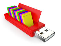 Chiavetta USB e libri Fotografia Stock