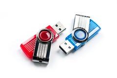 Chiavetta USB luminosa, nuovo, ad alta velocità su un fondo bianco Immagini Stock Libere da Diritti