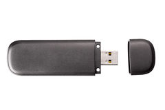 Chiavetta USB nera Fotografia Stock Libera da Diritti