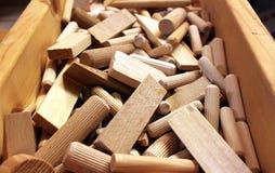 Chiavette e spine di legno Fotografia Stock