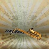 Chiavi del sassofono e del piano di jazz di musica di fondo Immagini Stock Libere da Diritti