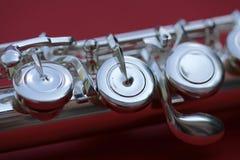 Chiavi della flauto del primo piano Fotografie Stock Libere da Diritti