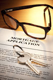 Chiavi di applicazione di mutuo ipotecario Fotografie Stock