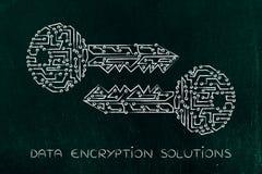 Chiavi di corrispondenza fatte dei circuiti elettronici, della crittografia & del cryptogr immagini stock