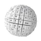 Chiavi di tastiera casuali che formano una sfera Immagine Stock