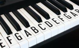 Chiavi di tastiera del piano con le lettere delle note della scala sovrapposta immagini stock libere da diritti