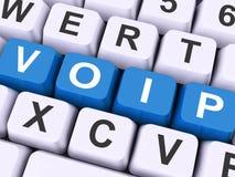 Chiavi di Voip sulla Voice over Internet Protocol di manifestazione della tastiera Fotografia Stock