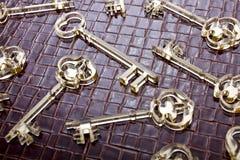 Fondo di chiavi dorate Immagine Stock Libera da Diritti
