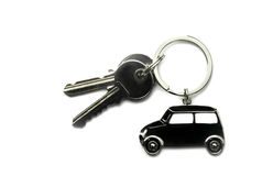 Chiavi e Keychain della Camera su fondo bianco Fotografie Stock