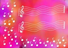 Chiavi musicali che fanno galleggiare fondo rosa royalty illustrazione gratis