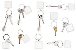 Chiavi sull'anello con keychain in bianco Fotografie Stock