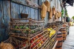 CHIBA, JAPÃO - EM MAIO DE 2016: Frutos na cesta em uma vila antiga velha em área perdida do delta do rio no Tóquio Disneysea situ Fotografia de Stock