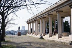Columns in a park stock photo