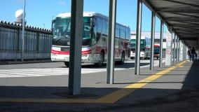 Narita international airport third terminal bus stops. Chiba,Japan - June 16, 2019: Narita international airport third terminal bus stopsn stock footage