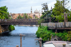 CHIBA, JAPAN: Old wooden bridge leading to Arabian Coast in Tokyo Disneysea located in Urayasu, Chiba, Japan Royalty Free Stock Photo