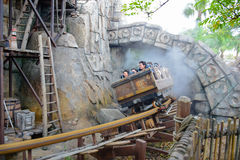 CHIBA, JAPAN: Raging Spirits attraction in Lost River Delta area in Tokyo Disneysea located in Urayasu, Chiba, Japan. Raging Spirits attraction in Lost River royalty free stock image